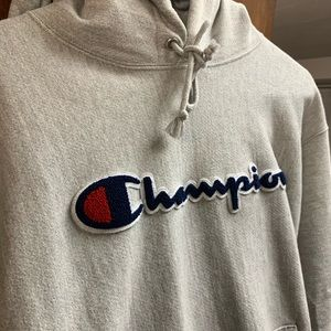 Champion Hoodie Gray Reverse Weave Large
